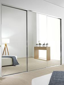 mirror panels installed in wardrobe doors