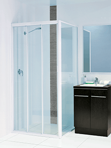 framed sliding shower screen with three doors
