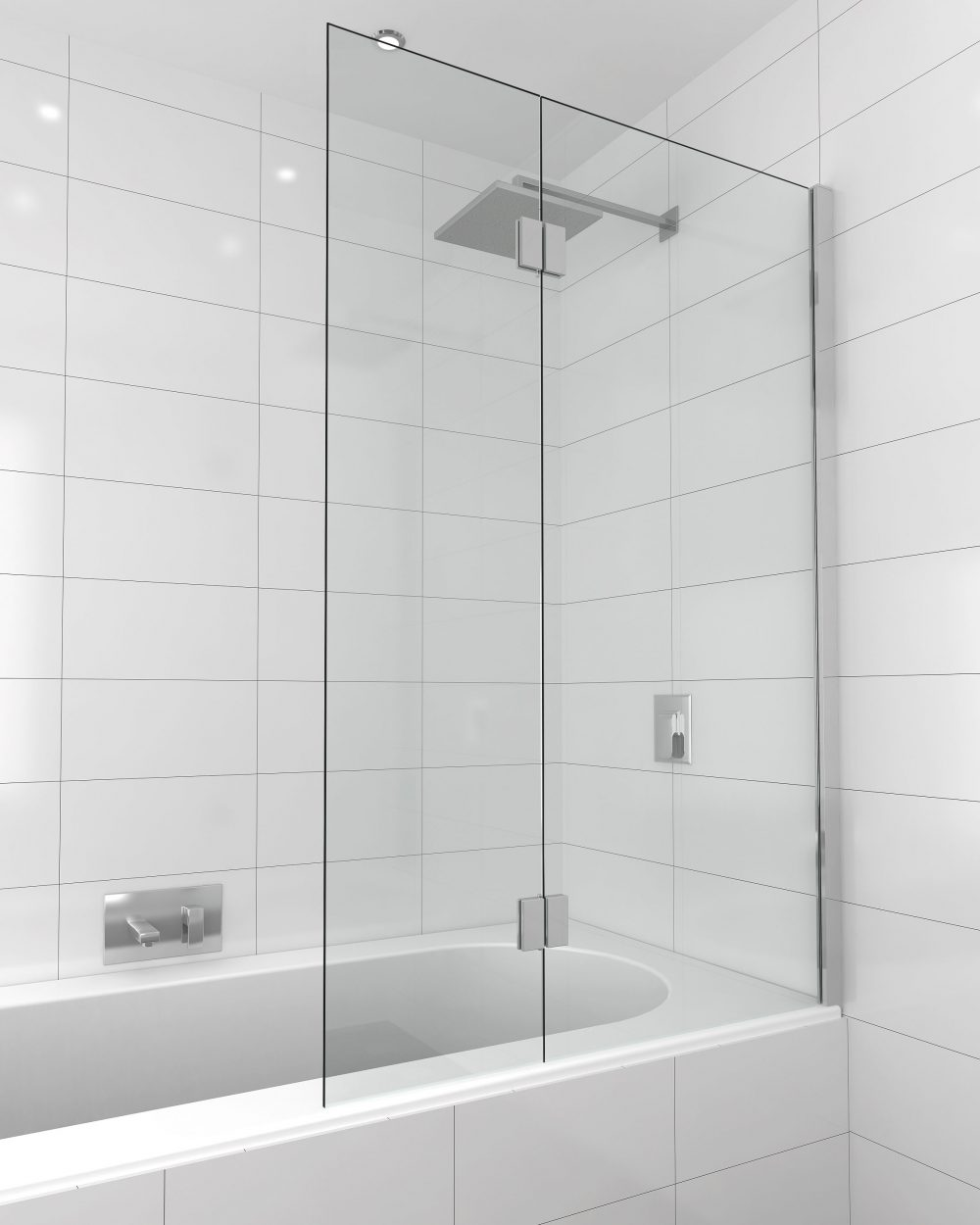 frameless glass bath panel with hinge