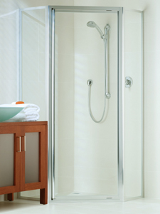 framed shower enclosure with corner opening