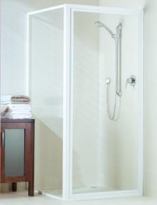 Dimension white framed shower screen