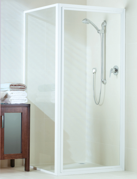 framed shower screen with white finish