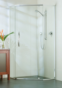 semi frameless shower with corner opening