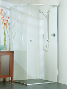 semi-frameless shower with pivot door opening