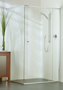 semi-frameless shower enclosure with panel