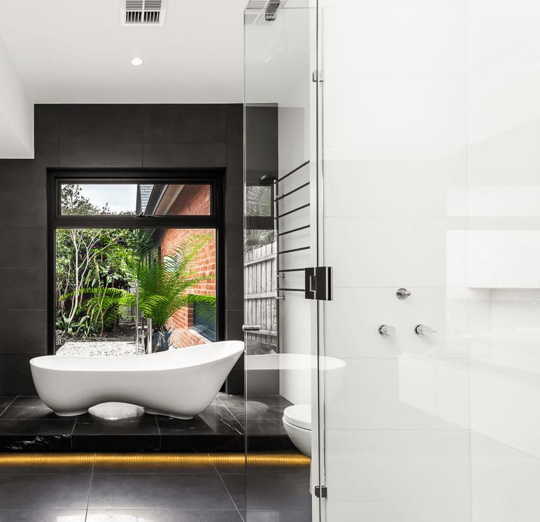 frameless glass hardware in the shower