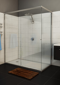 Momentum sliding shower screens