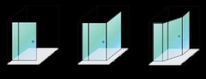 Optima adjustable shower screen configurations