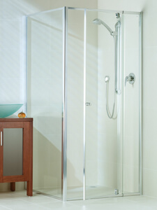 Optima adjustable shower screens with door open