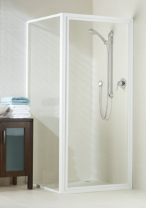 framed shower enclosure featuring white finish