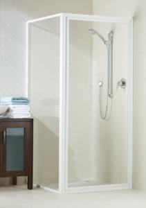 Phoenix white fully framed shower screen