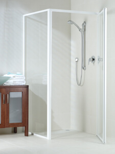 framed shower with sill-less door