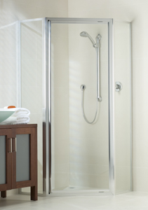 fully framed shower screen with corner opening