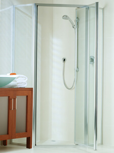 framed shower with pivot door and glass panel