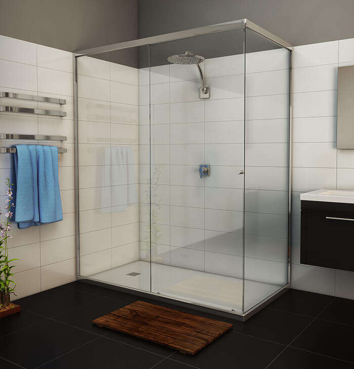 semi-frameless sliding shower screen