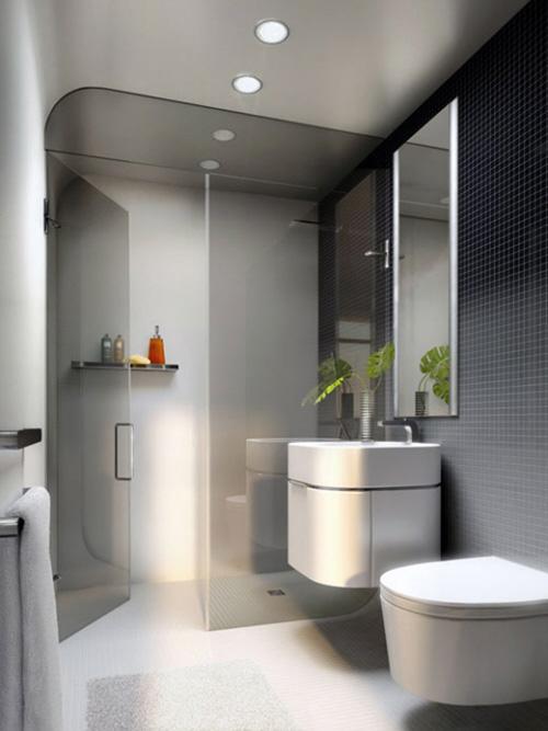 Small bathroom design idea black and white