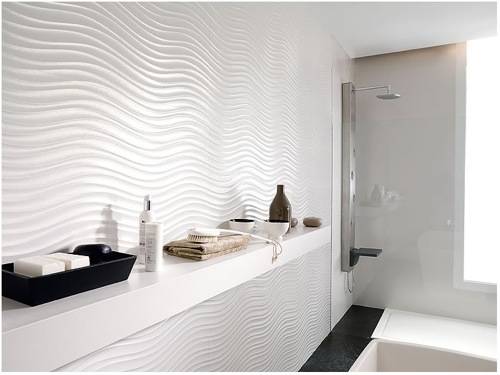 undulating white tile for bathroom