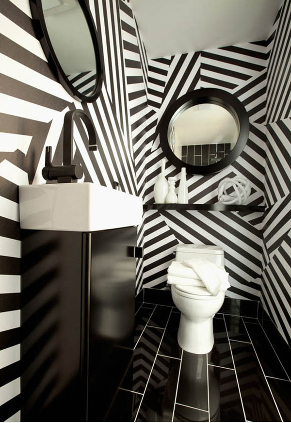 modern-design-of-bathroom-with-the-black-and-white-striped-wallpaper