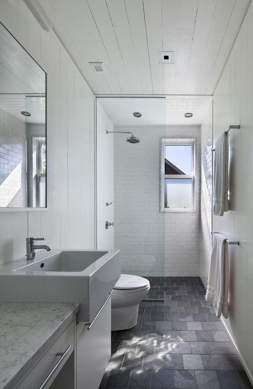 Narrow white bathroom design idea