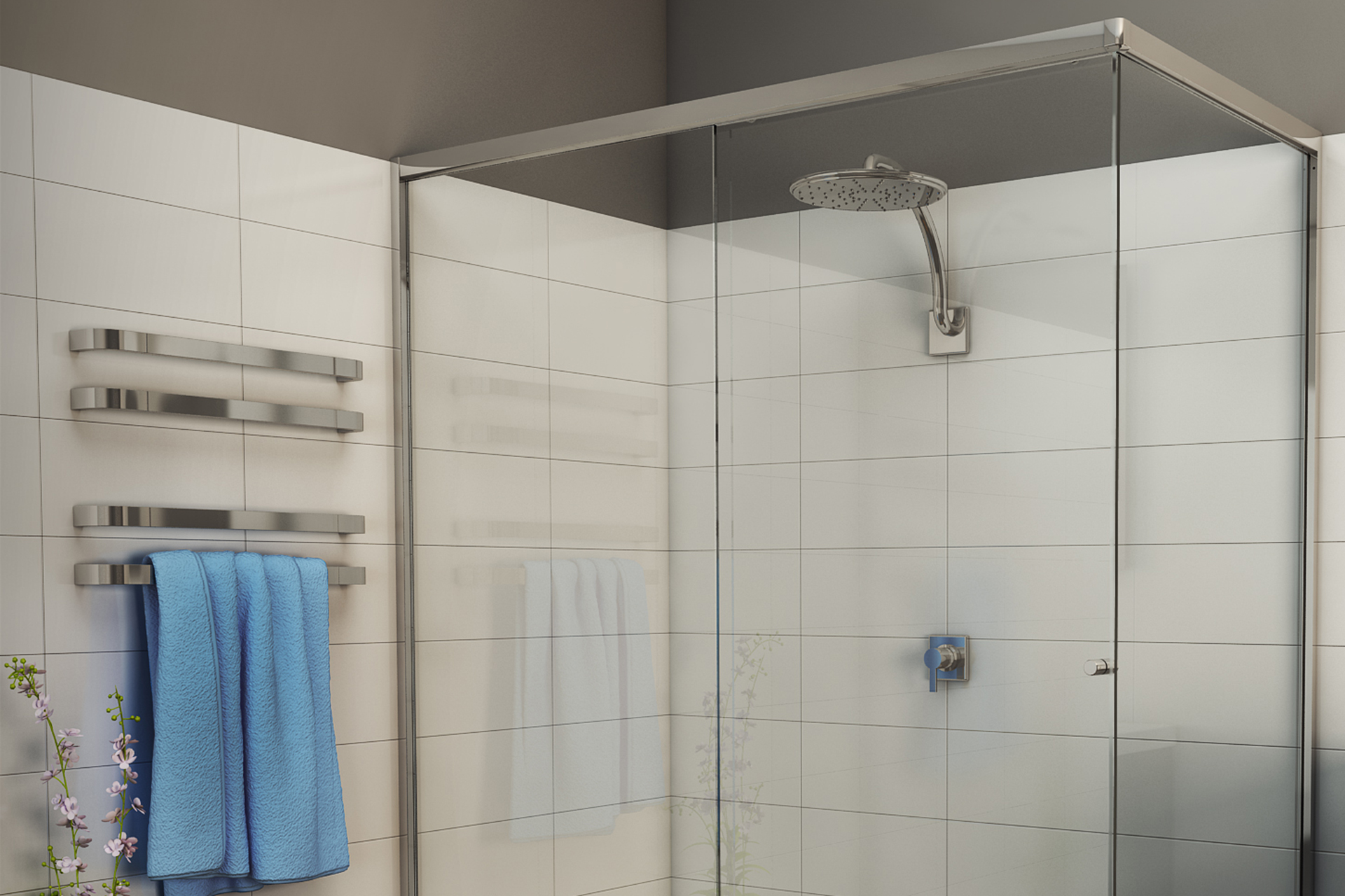 semi frameless sliding shower system available in kit form