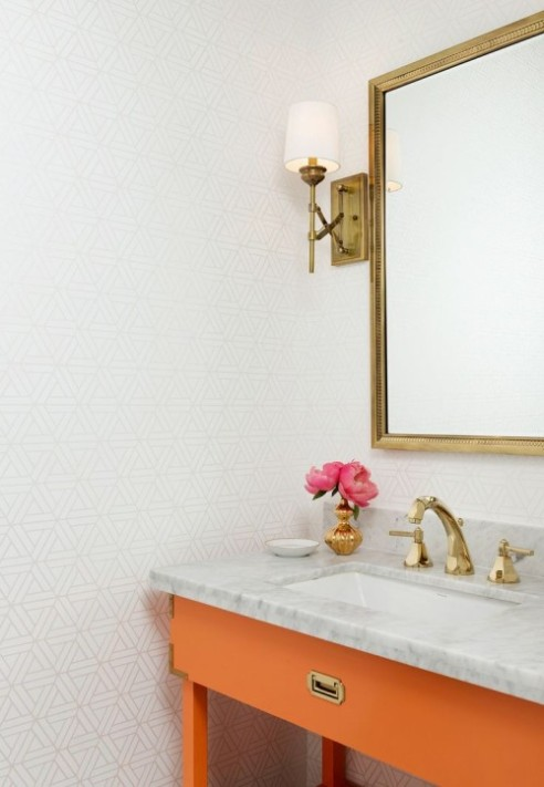 Triangle tile golden bathroom fixtures