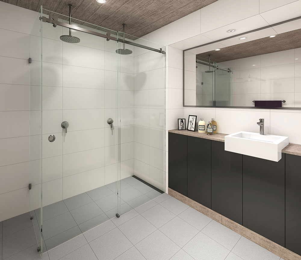 Sliding shower screen - Manhattan Frameless Sliding Shower Screen