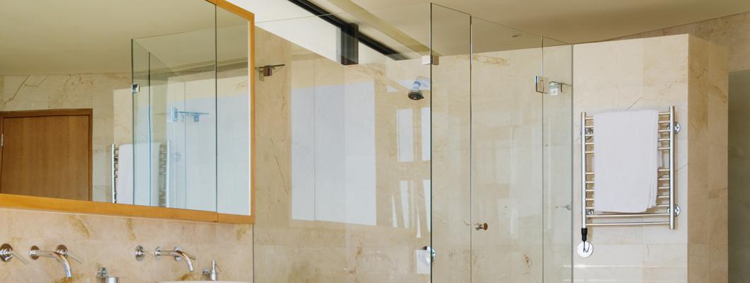 frameless shower with glass hardware