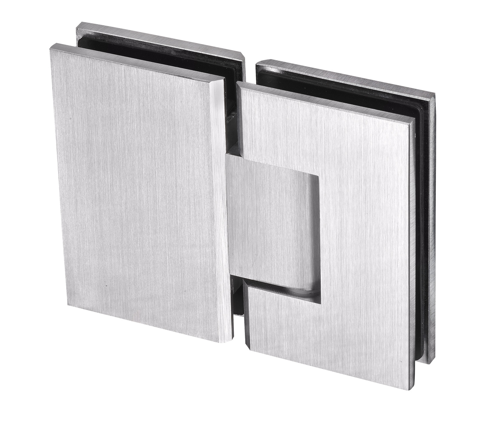 frameless shower hinge satin chrome finish