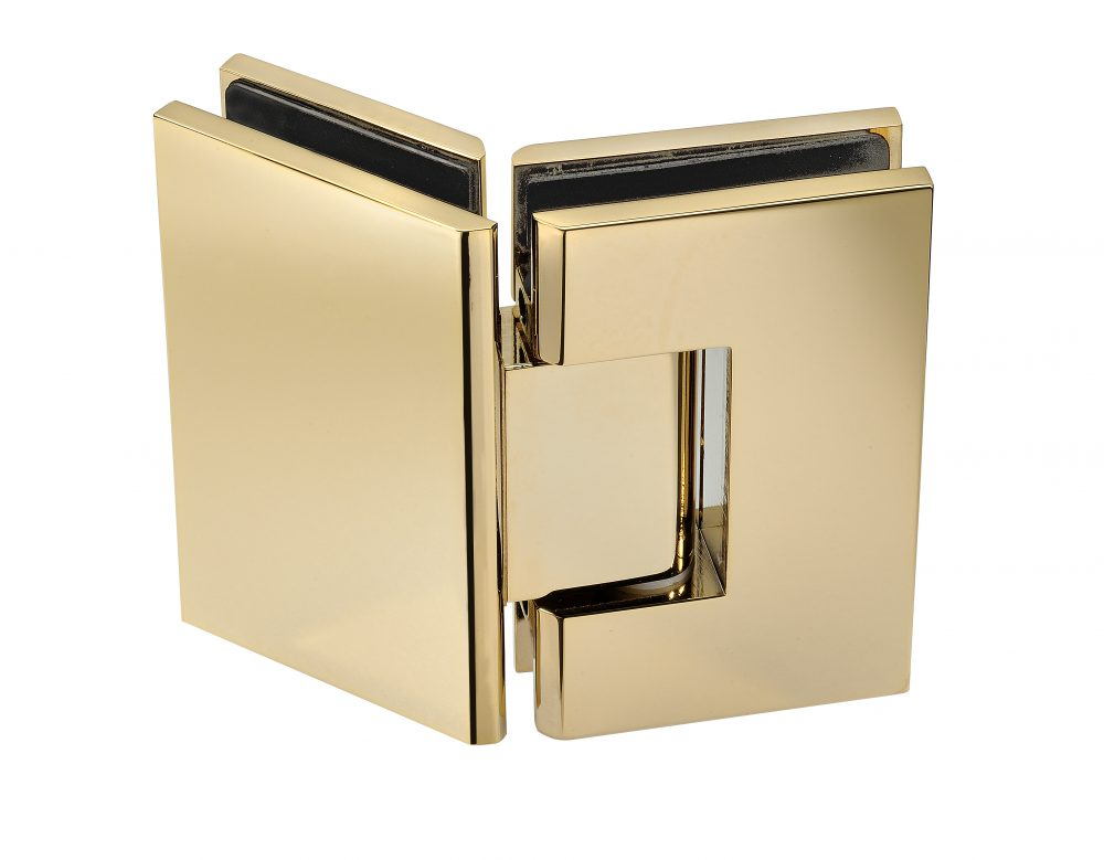 gold finished frameless shower hardware