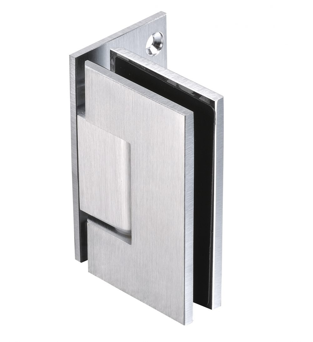 glass hardware hinge satin chrome finish