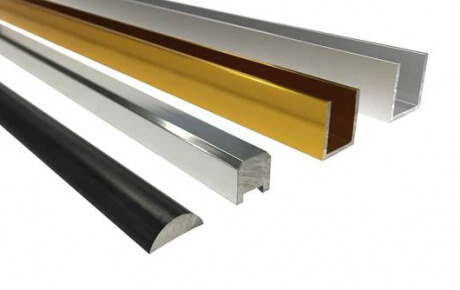 aluminium sections in matt black, chrome, gold and satin chrome finishes