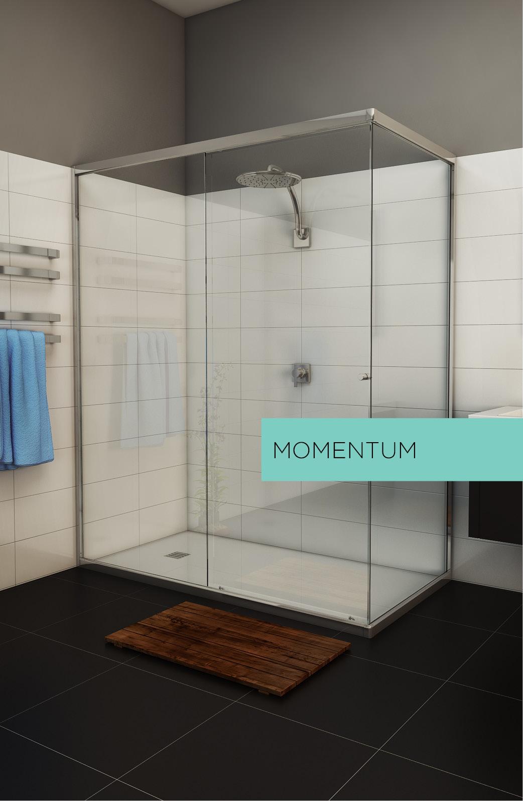 Momentum sliding shower screen