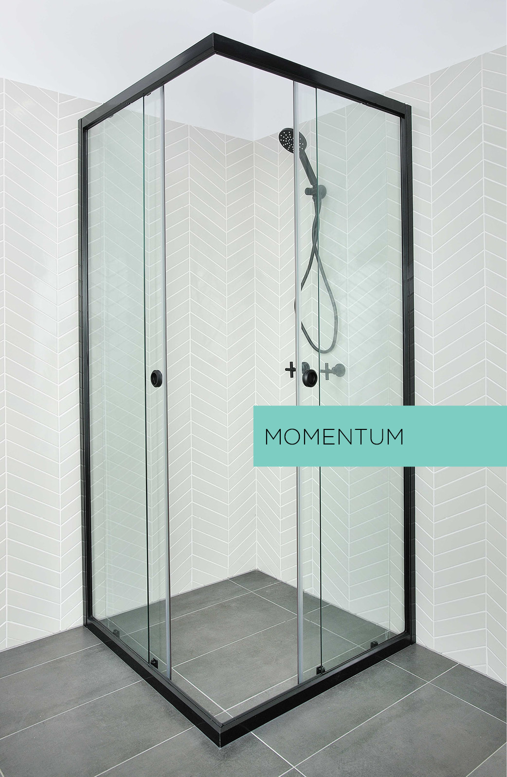Momentum sliding shower screen in black