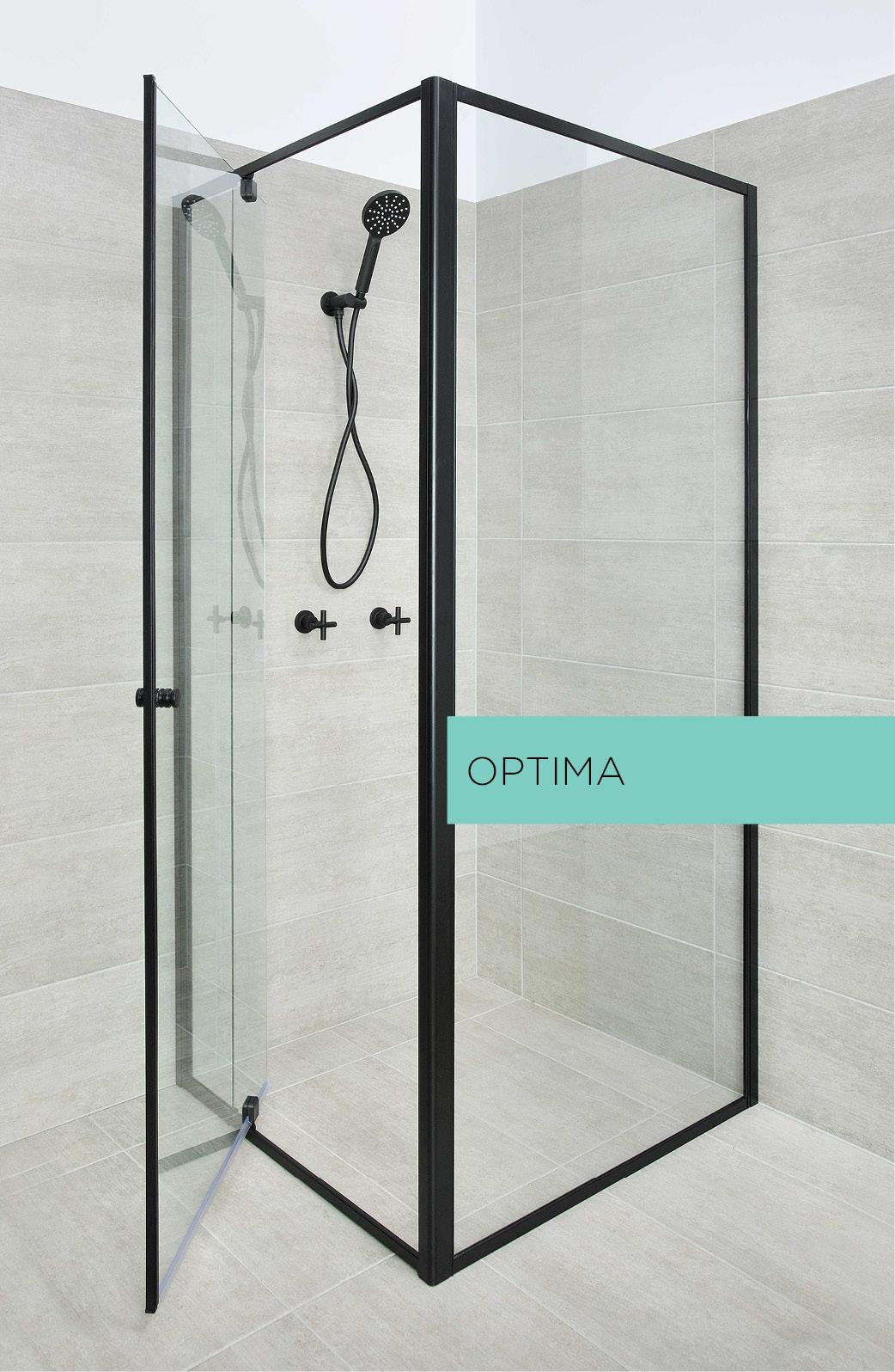 Optima shower door system in black