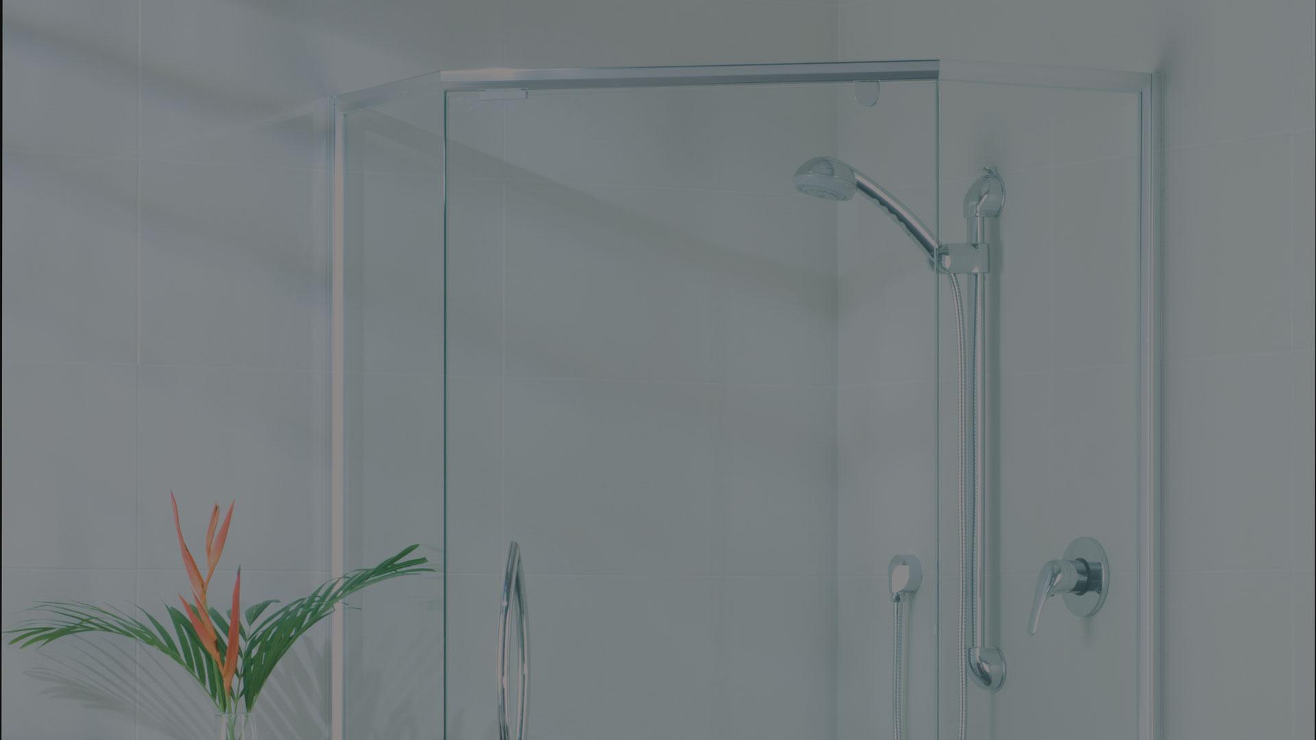 shower door corner opening