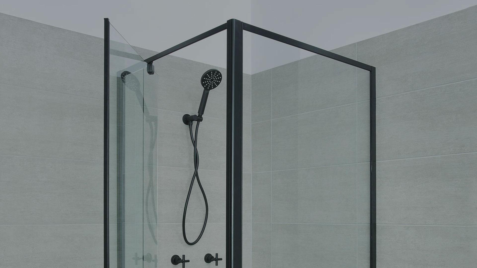 framed shower screen in black