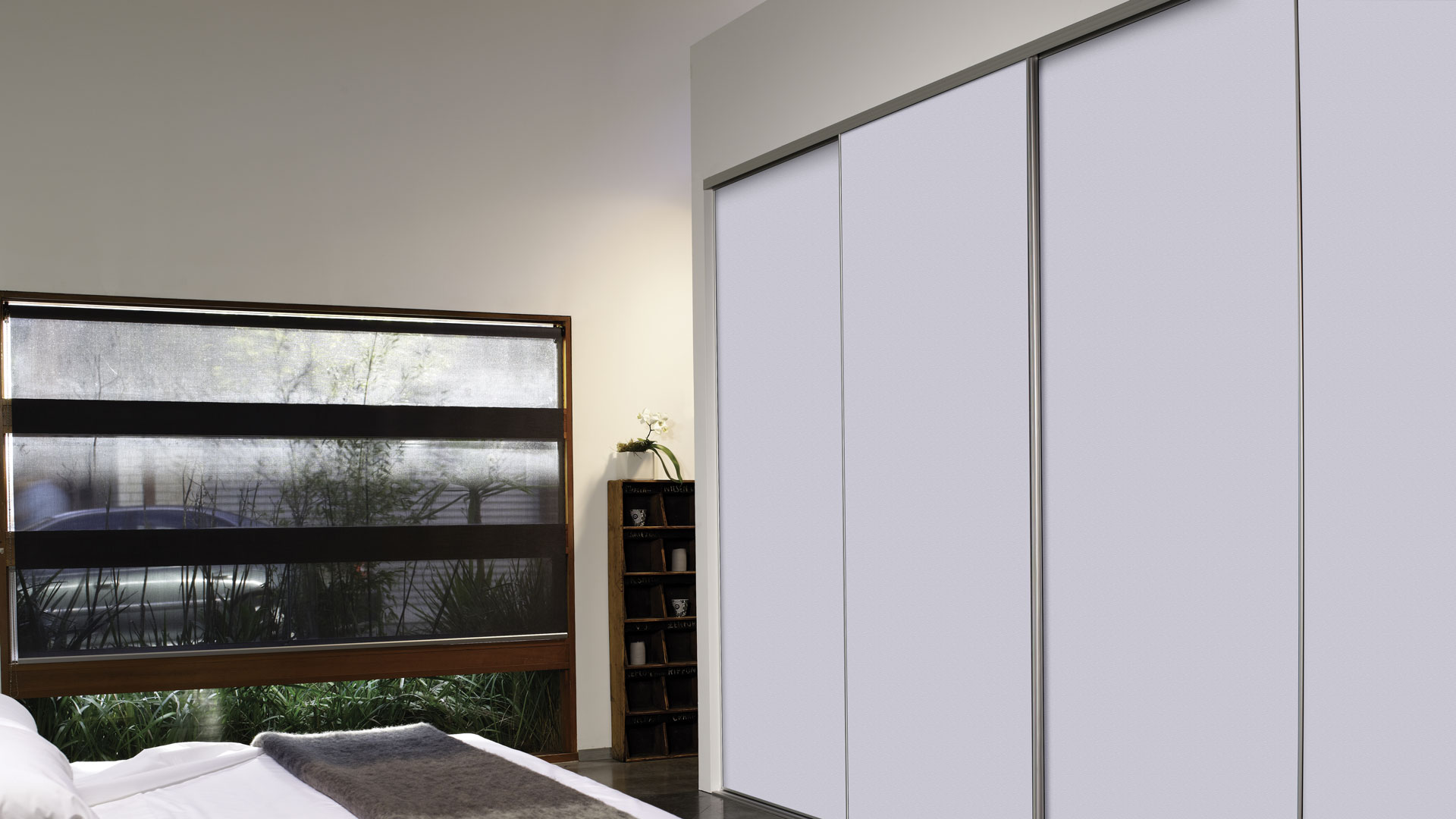 wardrobe door system with white panels